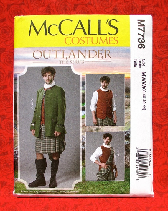 Size 38-40-42-44 The Series McCall Patterns M7736 MWW Mens Costume from Outlander