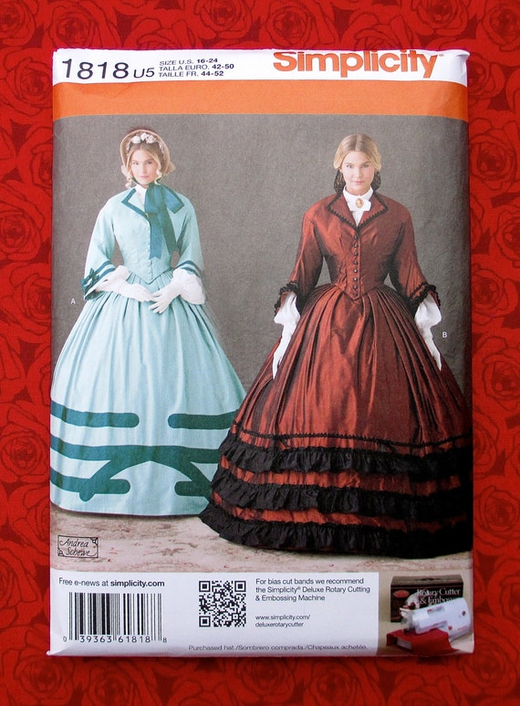 Simplicity Sewing Pattern 1818 Victorian Dress Ball Gown Etsy