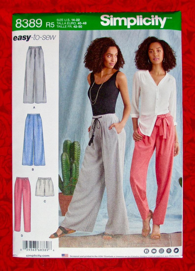 Simplicity Easy Sewing Pattern 8389 Long Pants, Pull-On, Shorts, Tie Belt,  Wide & Narrow Leg Fashion Sportswear, Sizes 14 16 18 20 22, UNCUT