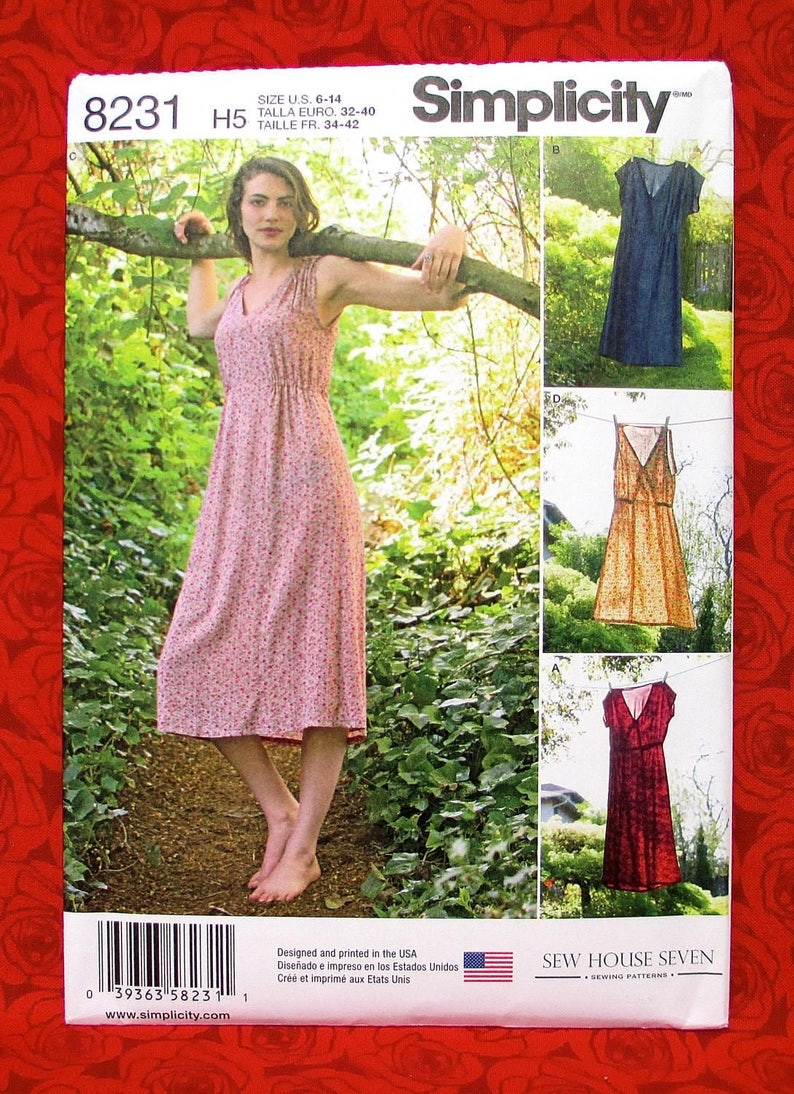 72b643b2b2748d Simplicity Sewing Pattern 8231 Dresses Short Sleeve