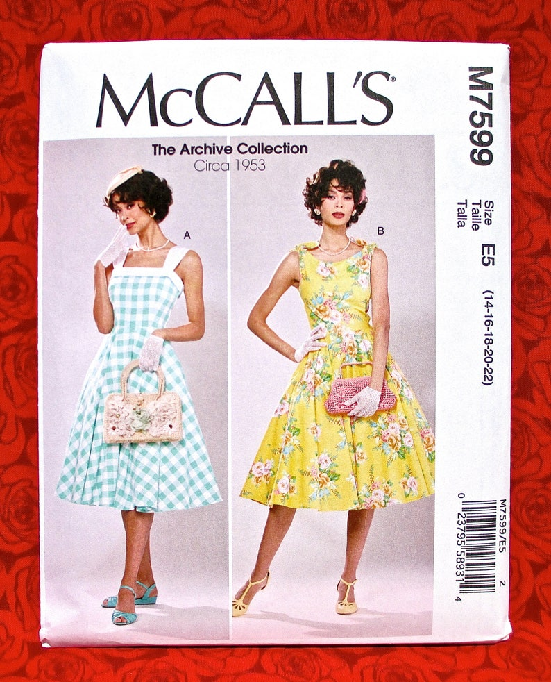 a084e0db2f0 McCall s Sewing Pattern M7599 Retro Dress 1950 s