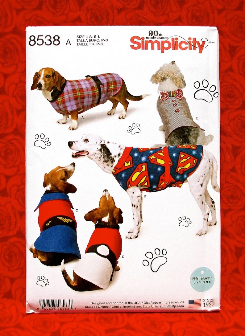 Simplicity Sewing Pattern 8538 Dog Coats Jacket Vest Winter image 0