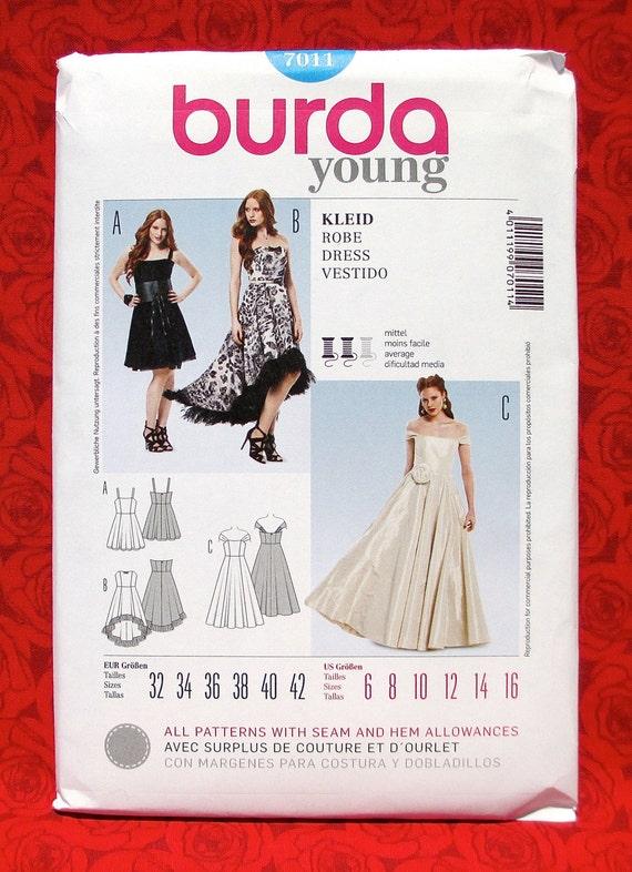 Burda Sewing Pattern 7011 Bridal Gown Formal Dress, Off Shoulder, Hi ...