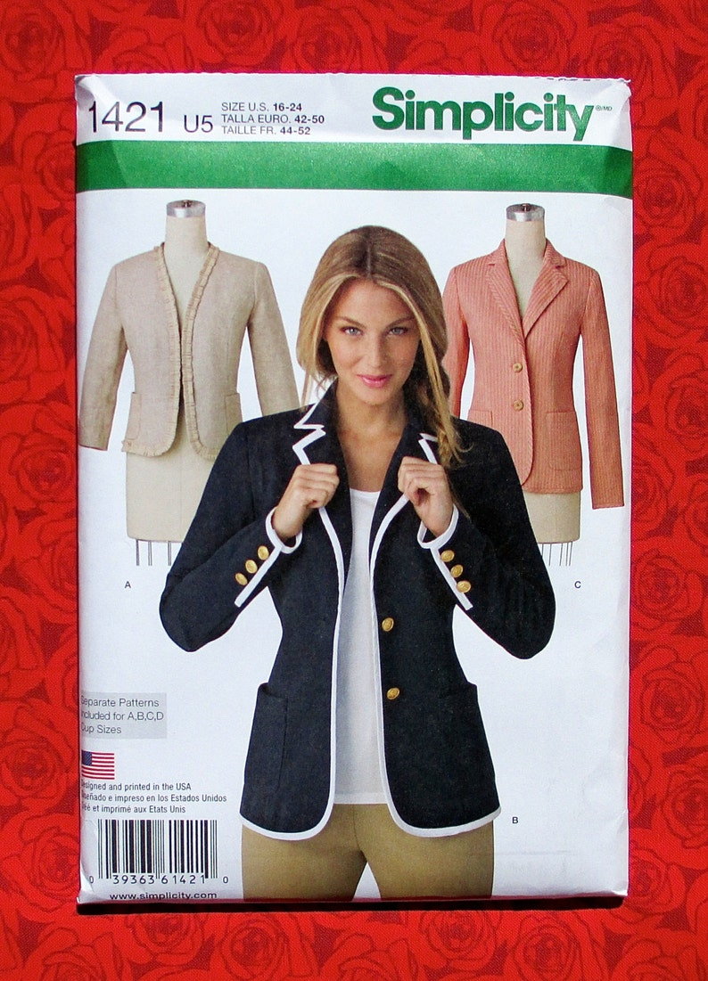 Simplicity-1421-M Simplicity Ladies Sewing Pattern 1421 Unlined Fitted Jackets