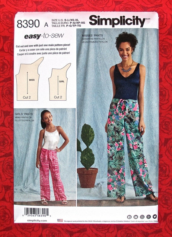 Simplicity Easy Sewing Pattern 8390 Tie Front Pants Cover Etsy