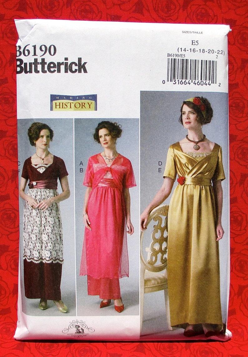 Overskirt Train UNCUT Jacket Butterick Sewing Pattern B6190 Edwardian Dress Historical Reenactment Headband Plus Sizes 14 16 18 20 22