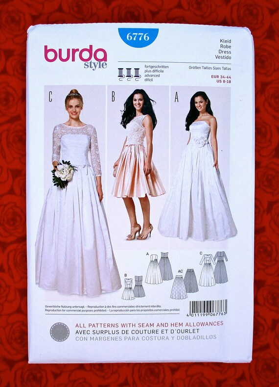 Burda Sewing Pattern 6776 Bridal Gown Formal Dress | Etsy