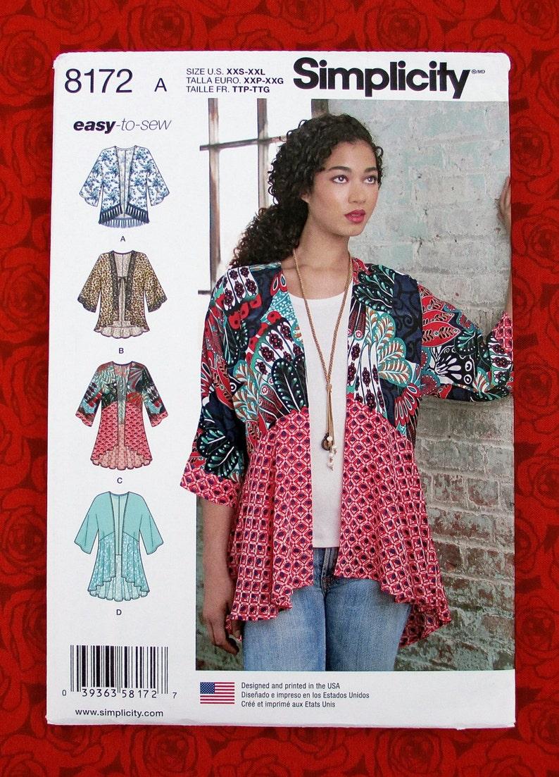 82d7e04e640 Simplicity 8172 Easy Sewing Pattern Kimono Jacket Hi Lo Top