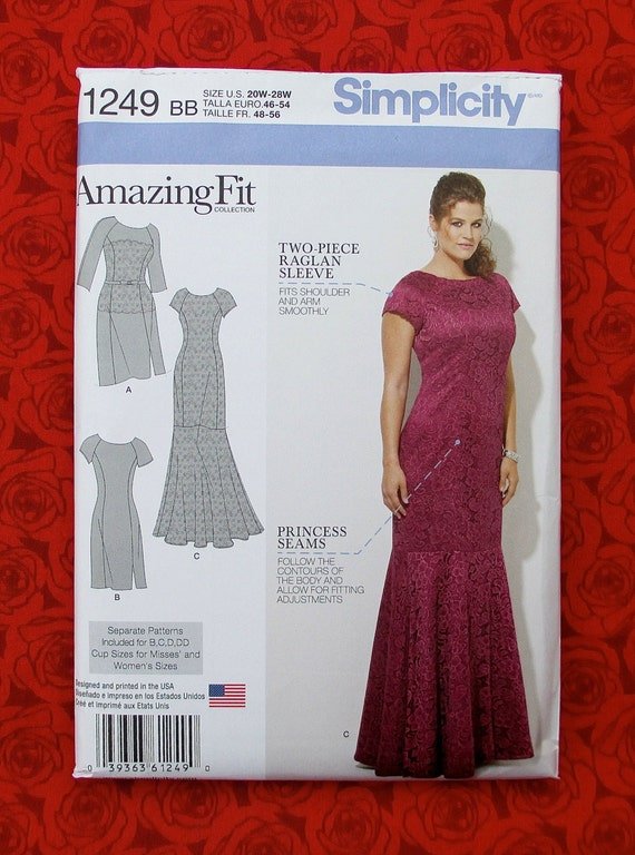 Simplicity Sewing Pattern 1249 Amazing Fit Dress Evening Etsy