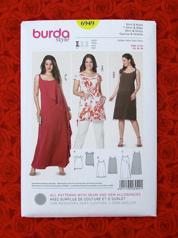 Burda Easy Sewing Pattern 6949 Maxi Long Dress Casual Tunic | Etsy