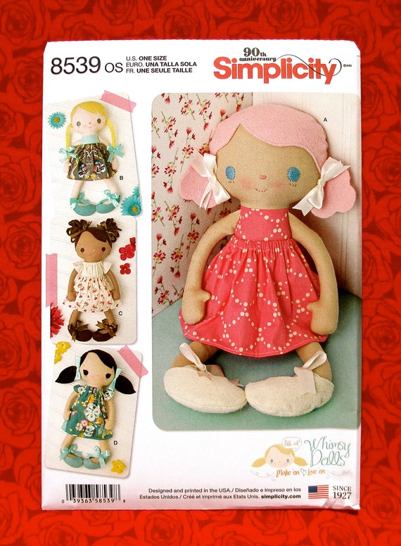 Simplicity Sewing Pattern 8539 Stuffed Dolls and Clothes Cuddly Toys