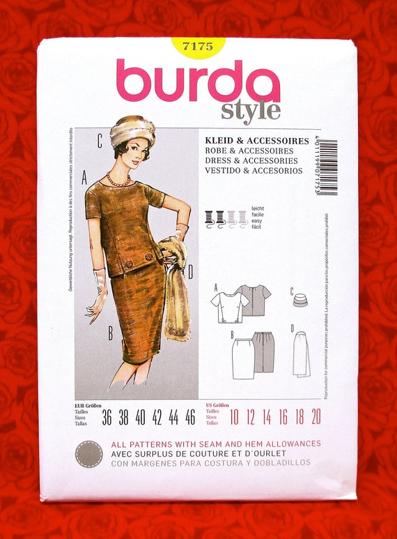 Burda Sewing Pattern 7175 2-Piece Dress Fur Hat Stole Wrap | Etsy