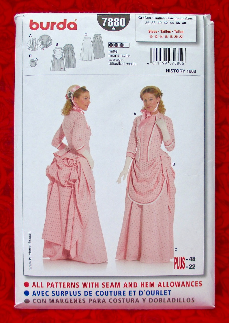 Burda Sewing Pattern 7880, Victorian Gown, Bustle, 2-Piece Dress, Late  1800's, Misses' Sizes 10 12 14 16 18 20 22, Historical Wedding, UNCUT