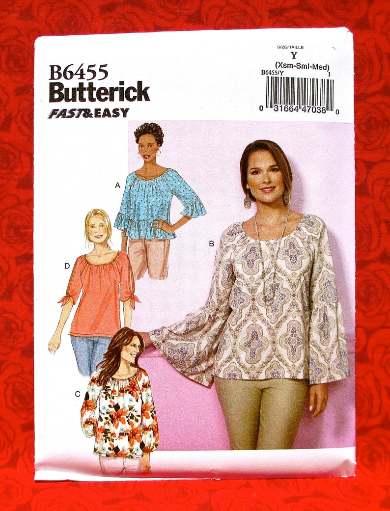 Butterick Easy Sewing Pattern B6455 Loose Pullover Tops image 0