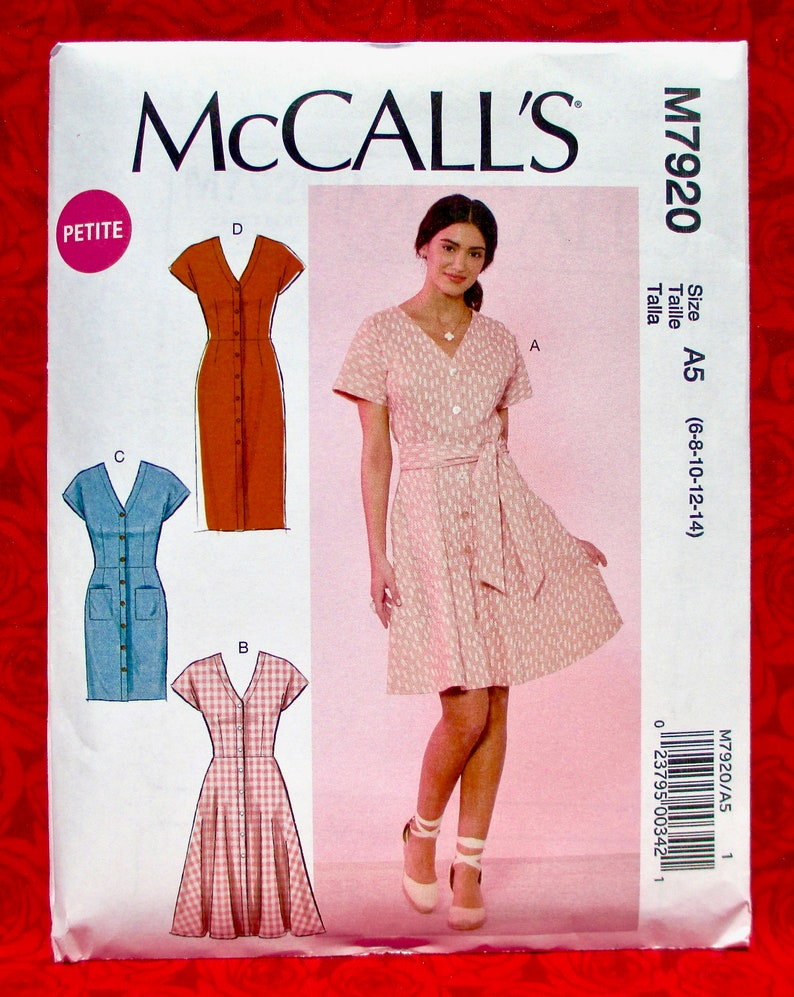 McCall's Sewing Pattern M7920 Button Front Dress Short image 0