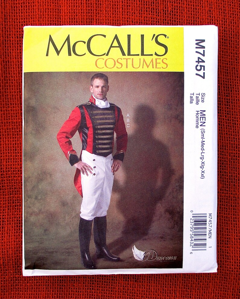 McCall's Costume Sewing Pattern M7457, Military Uniform, Tailcoat Jacket,  Trousers, Cravat, Men's Sizes S M L xL XxL, Officer Soldier, UNCUT