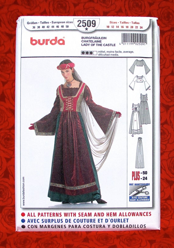 Burda Sewing Pattern 2509 Medieval Long Gown Veil Blouse | Etsy