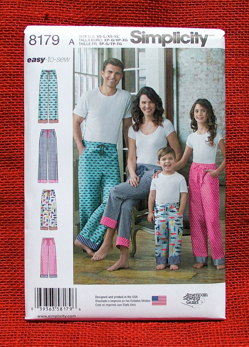 Simplicity Easy Sewing Pattern 8179 Lounge Pants Pull-On  bbb978f84