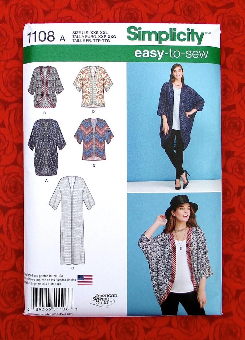 dae91f4b6e4 Simplicity 1108 Easy Sewing Pattern Kimono Jacket Hi Lo Coat
