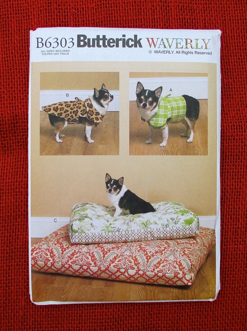 2a69e8d4b38 Butterick Waverly Sewing Pattern B6303 Dog Vest Coat Bed