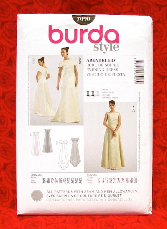 Burda Sewing Pattern 7090 Bridal Gown Train Formal Evening | Etsy