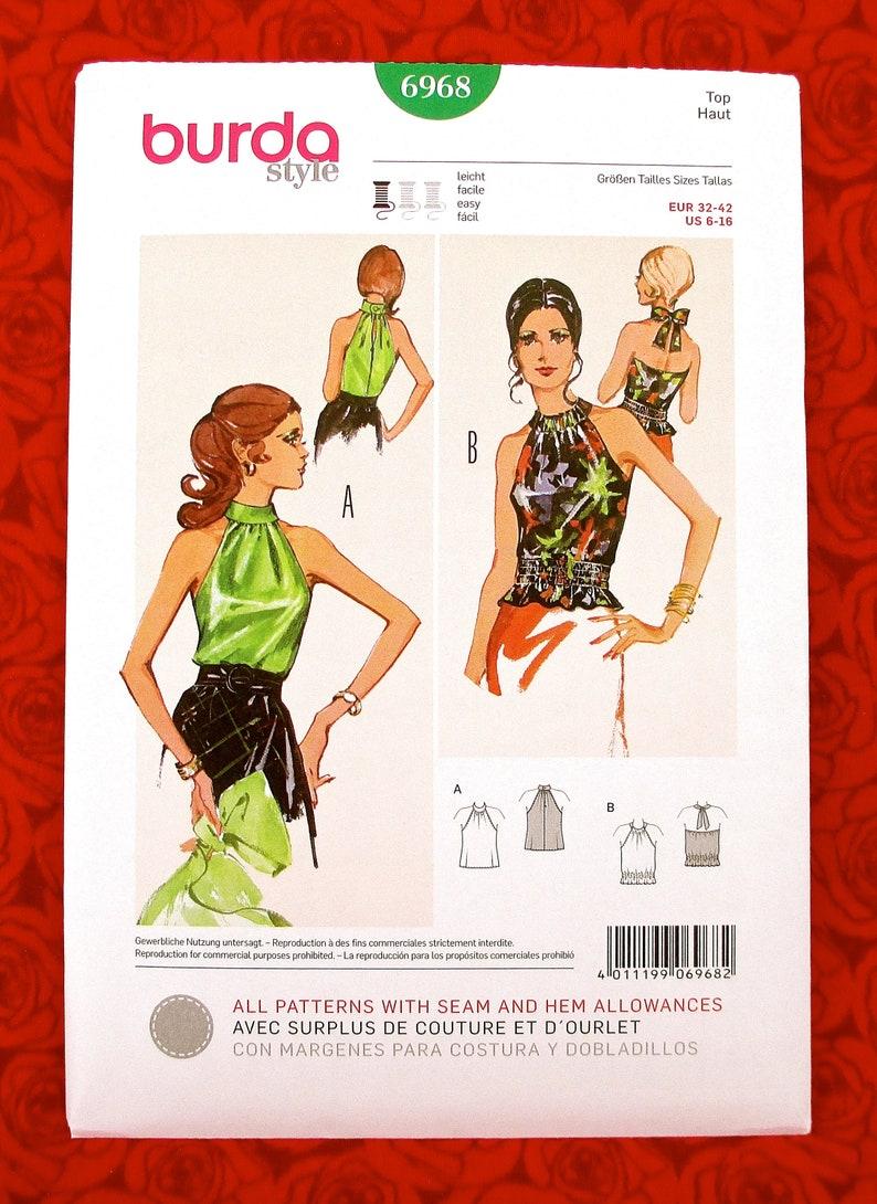 Burda Sewing Pattern 6968 Halter Top Retro Fashion Blouse image 0