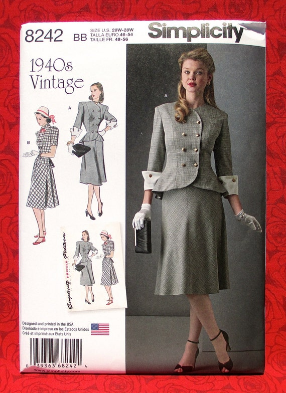 Simplicity Ladies Sewing Pattern 8242 1940s Vintage Style Jacket /& Shirt ...