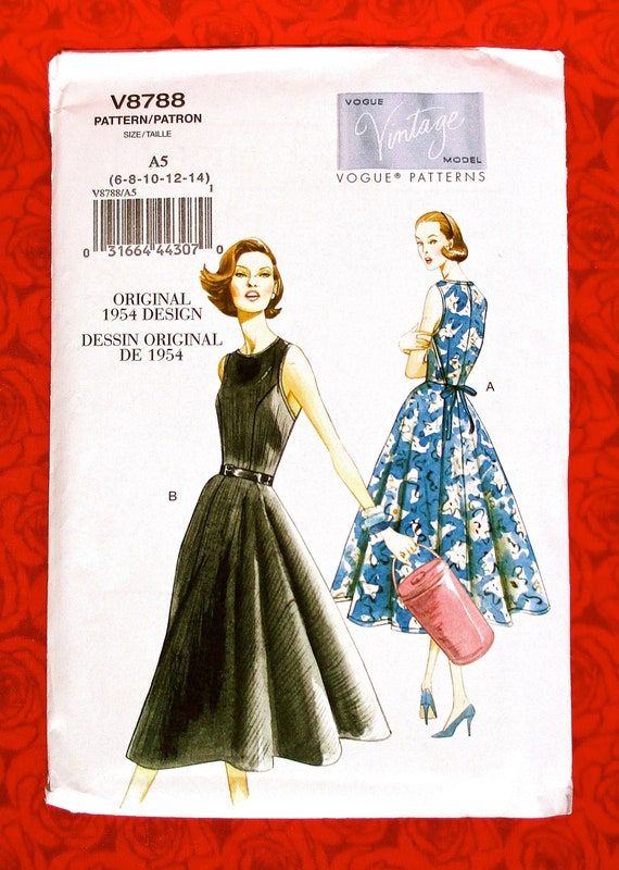 Vogue Easy Sewing Pattern V8788 Retro Wrap Dress New Look | Etsy