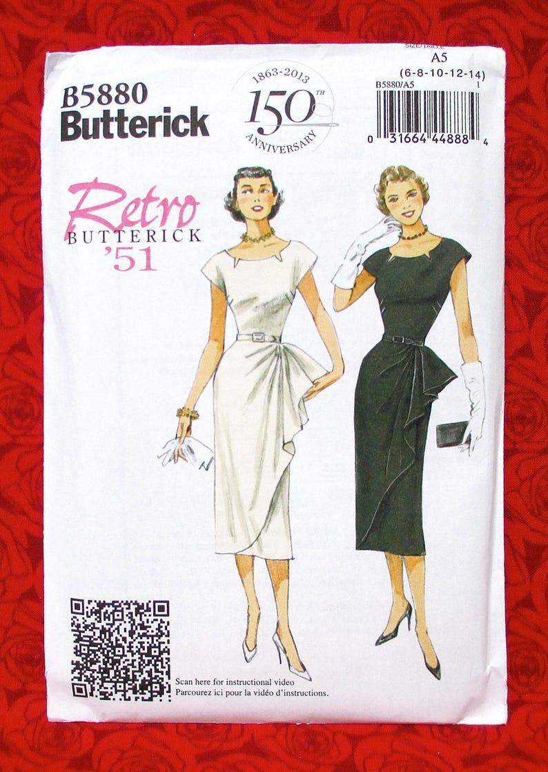 Butterick Sewing Pattern B5880 Side Ruffle Dress, Belt, Retro 1950's  Vintage Style, Sizes 6 8 10 12 14, Semi-Formal Summer Fashion, UNCUT
