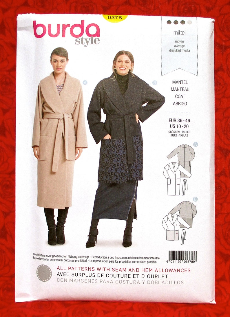 Burda Sewing Pattern 6387 Misses Shawl Collar Coat Size 10-20 Euro 36-46