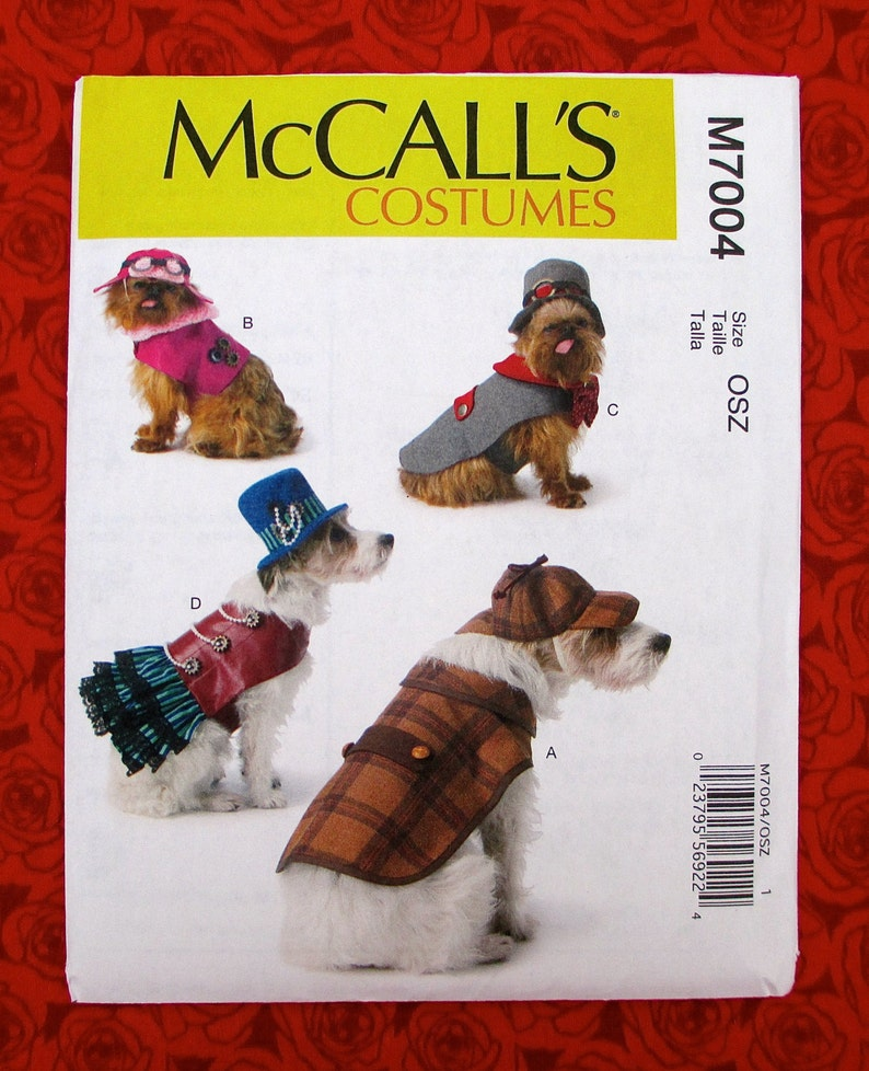 87db86facd4 McCall s Sewing Pattern M7004 Dog Costumes Top Hat Coat