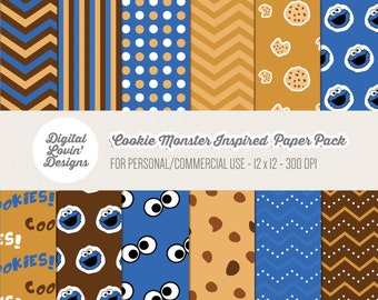 INSTANT DOWNLOAD - 12 Cookie Monster Digital Papers for Scrapbooking, Crafts, Invitations for Commercial and Personal Use