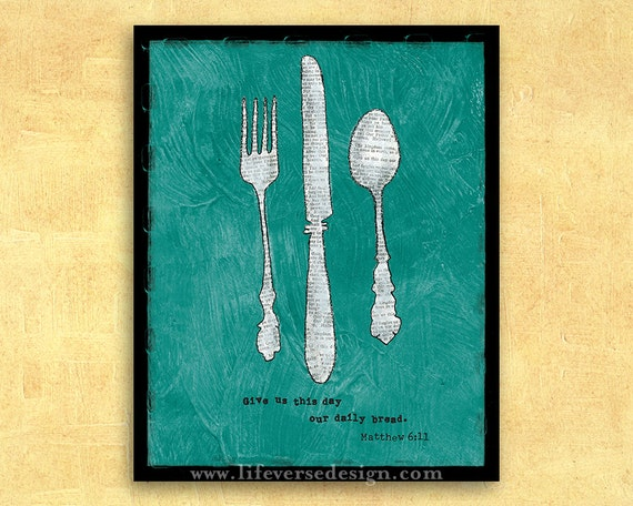 Scripture Wall Art Christian Kitchen Decor Daily Bread Etsy