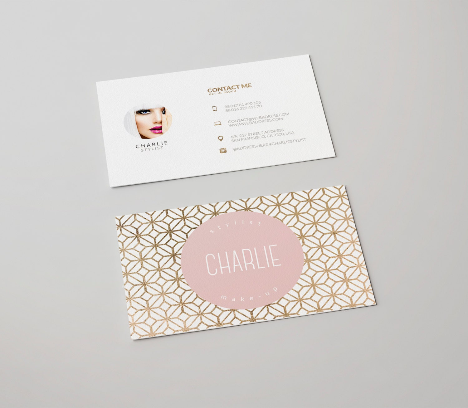 Charlie double sided business card - Instant download