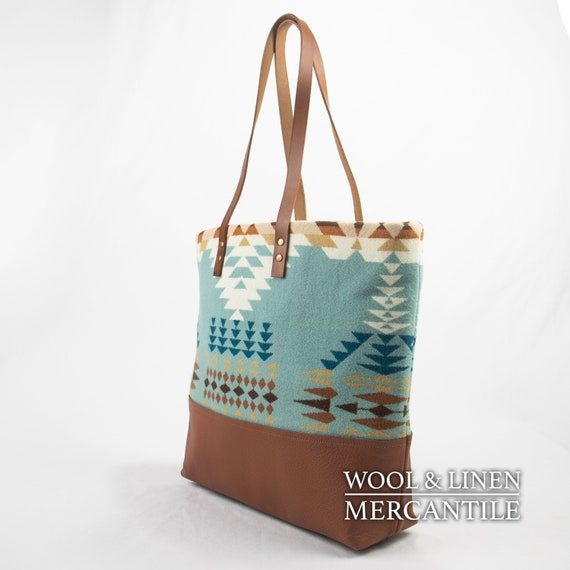 Pendleton and Camel Leather Bag IN STOCK !! Portland Wool Wool Tote made with Pendleton Wool NEW !