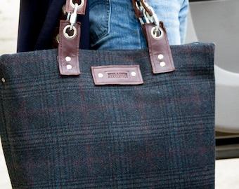 Travel Bag made with Pendleton Wool, Classic Mens Plaid, Leather Bag, Tartan Plaid, Mens Overnite Bag