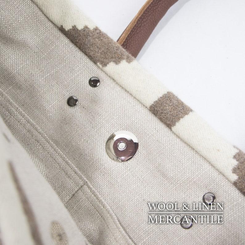 Neutral Colors in wool Milk Chocolate Handles Southwestern Bag Bag made with Pendleton Wool