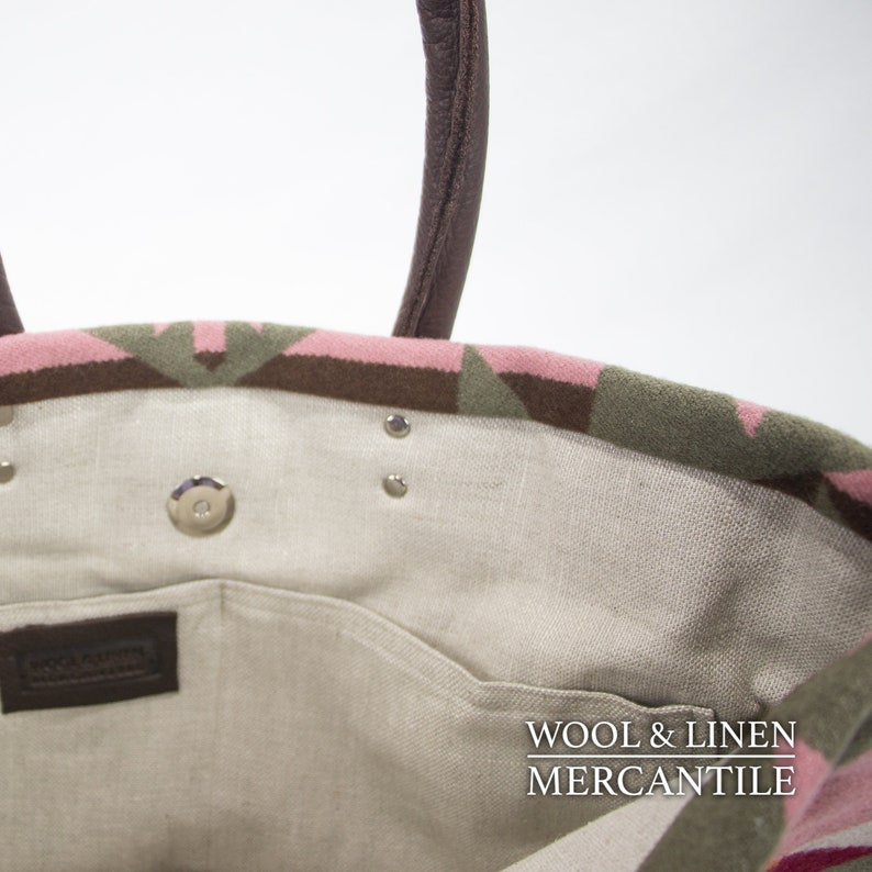 Hot Pink Chocolate  Brown Handles Wool Tote Bag made with Pendleton Wool In pinks and sage green