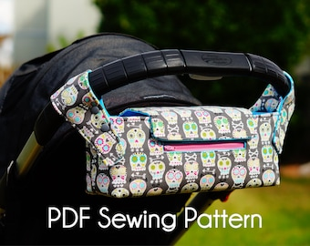 Pram Caddy, Pram Organiser, PDF Sewing pattern, Stroller Caddy, Stroller Organiser, Stroller Bag, Wheelchair Bag, Shopping Trolley Organiser