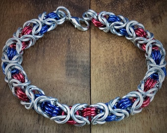 Chicago Cubs or Texas Rangers Red and Blue Byzantine Chainmaille Bracelet