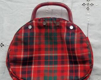 Vintage Red Wool Plaid Bermuda Bag by Jeanne Bouchever - Vintage Bermuda  Bag Red Plaid Wool Handbag Red Plaid Purse 55b985974