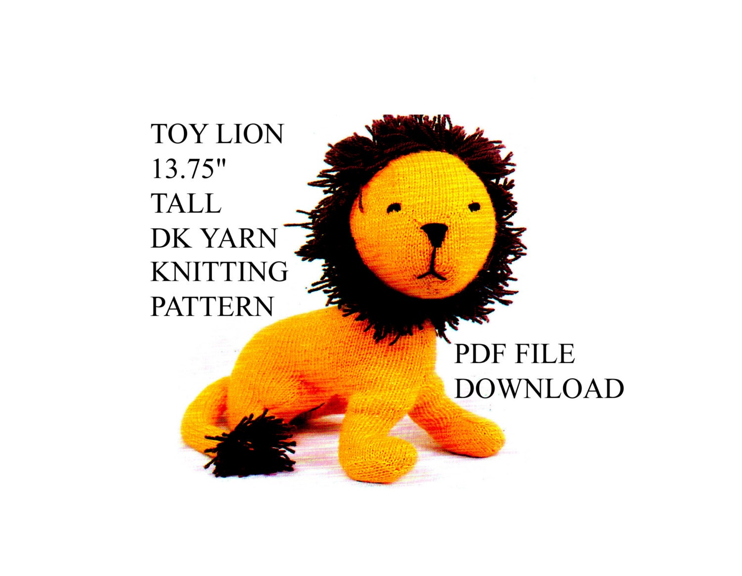 1375 Tall Leo The Lion Toy Knitting Pattern Pdfle Etsy
