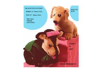 2 Lovely Puppy Dogs to Knit PDF>FILE Knitting Pattern Ebook 5266