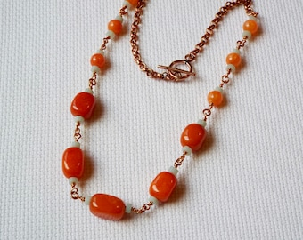 Orange dyed quartzite and amazonite with copper chain necklace