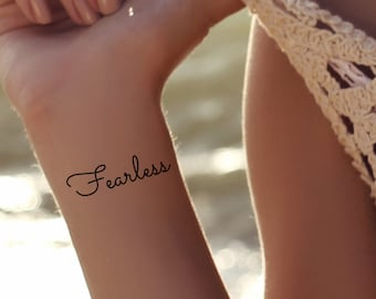 bc6486f2d Temporary Tattoo Fearless Quote Ultra Thin Realistic Waterproof 3 Quotes Fake  Tattoos