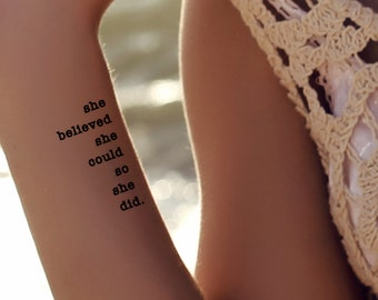 Temporary Tattoo She Believed She Could So She Did Ultra Thin Realistic  Waterproof 2 Quote Fake Tattoos