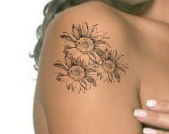 Sunflower Tattoo Etsy