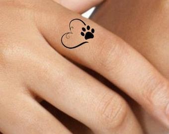 35980e09ee2ef Temporary Tattoo 4 Heart Paw Finger Fake Tattoos Waterproof Thin Durable  Fake