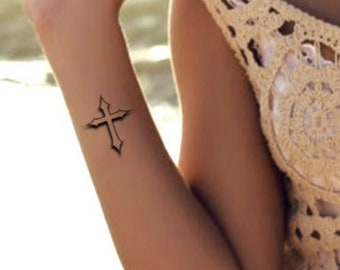 3b90799394cd2 3D Cross Temporary Tattoo 2 Fake Waterproof Tattoos