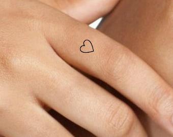 e17a2051a0cc9 Heart Temporary Tattoo 10 Mini Finger Hearts Ultra Thin Realistic  Waterproof Fake Tattoos